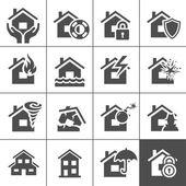 Eigenschap verzekering pictogrammen — Stockvector