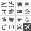 Universal airport and air travel icons — Imagen vectorial
