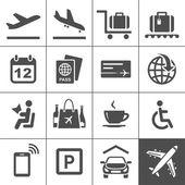 Univerzální letiště a letecké cestování ikony — Stock vektor