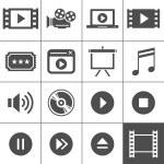 film i kino zestaw ikon — Wektor stockowy