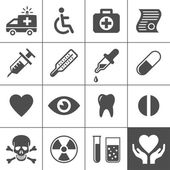 Medical and health icon set — Stok Vektör