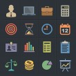 Business Flat Metro Style Icons — Vettoriali Stock