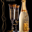 Glasses of champagne with bottle — Foto Stock
