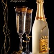 Glasses of champagne with bottle — Foto de Stock
