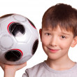 The boy with a football — Stock Photo