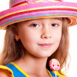 Girl in straw hat — Foto Stock