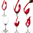 Red wine and wineglasses. Collage of wine shots. 27 megapixel. — Foto Stock