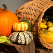 Autumnal basket. Halloween — Foto Stock