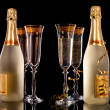 Glasses of champagne with bottle — Stock Photo