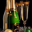 Glasses of champagne with bottle — Stock Photo #29895579