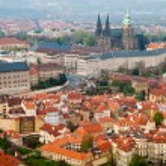 Prague's roofs. Czech Republic. Prague Castle. St Vitus Cathedral — Zdjęcie stockowe