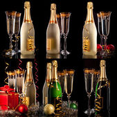 Glasses of champagne with bottles and christmas balls — Stock Photo