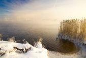 White winter landscape. Lake and Sky — Stock Photo