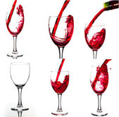 Red wine and wineglasses. Collage of wine shots. 27 megapixel. — Stock Photo