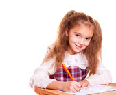 Little School Girl Doing Homework — Stock Photo