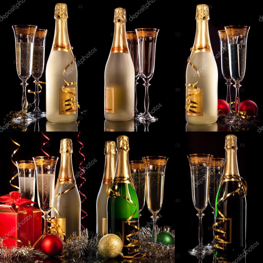 Copas de champagne con botellas y bolas de navidad fotos for Copas para champagne