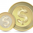 Two golden coins — Stock Vector