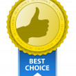 Best Choice Sign. Thumb Up Gesture. — Stock Vector