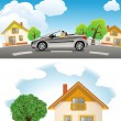 Highly detailed vector illustration of House with Car and Tree — Imagen vectorial