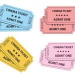 kolekcja bilety kina. Ilustracja wektorowa — Wektor stockowy
