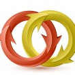 Vector illustration of red and yellow circular arrows. — Stock vektor