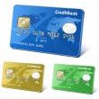 Credit or debit cards with world map and reflections. Payment concept. Colorful collection of credit cards. Highly detailed vector. — Image vectorielle