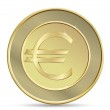 Golden coin with euro sign. — Stock Vector