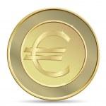 Golden coin with euro sign. — Stock Vector