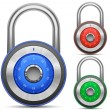 Combination Lock Collection. Security Concept. Vector illustration of padlock — Vector de stock