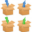 Vector illustration of cardboard boxes with directional arrows — Imagens vectoriais em stock