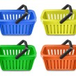 图库矢量图片: Set of colorful shopping basket. Shopping cart.