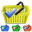 Online Internet Store Shopping Carts. Set of colorful shopping basket with signs. — Vecteur