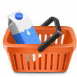 Vector de stock : Shopping cart with a milk carton