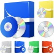 Stock Vector: Software boxes and disks
