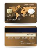 Credit card. Highly detailed illustration of credit card with world map, chip, embossed digits and hologram. — Stock Vector