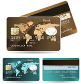 Colorful collection of credit cards. Highly detailed vector — Stock Vector