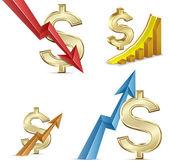 Wisselkoers. dollar groei. dalende dollar. dollar munt samenvouwen. — Stockvector
