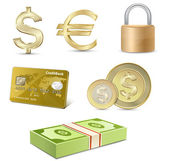 Dollar and Euro signs. Financial symbols. — Stockvector