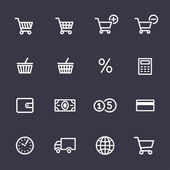 Winkelen icons set — Stockvector