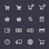Winkelen icons set — Stockvector