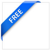 Blue corner ribbon. Free Product. Free Download. — ストックベクタ