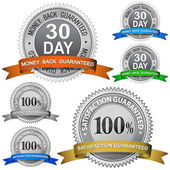 30 Day Money Back Guaranteed and 100 Satisfaction Guaranteed Sign Set — Stock Vector