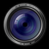 A camera lens vector illustration with realistic reflections on black background — Stock Vector