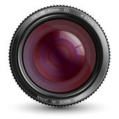 A camera lens vector illustration with realistic reflections and shadow — Stock Vector