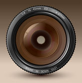 A camera lens vector illustration with realistic reflections on brown background — Stock Vector