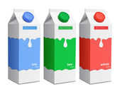 Milk carton with screw cap. Collection of milk boxes — 图库矢量图片