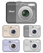 5 Vector Digital Compact Cameras — Stock Vector