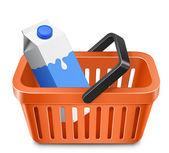 Shopping cart with a milk carton — Stock Vector