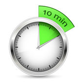 10 minutes. Timer vector illustration. — Vettoriale Stock