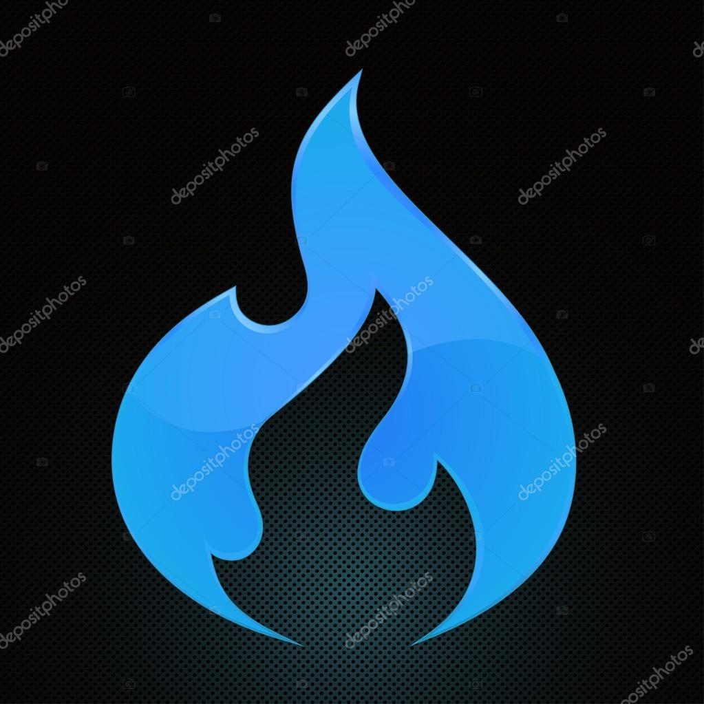 Vector Illustration Blue Fire Natural Gas